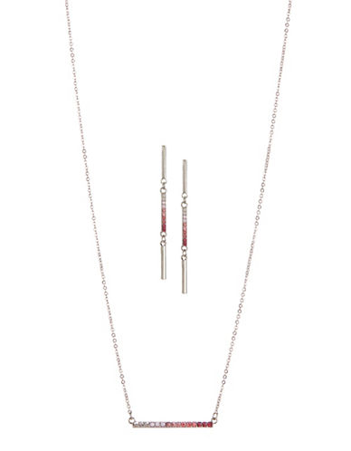 Expression Two-Piece Crystal Rectangular Bar Earrings and Necklace Set-PINK-One Size