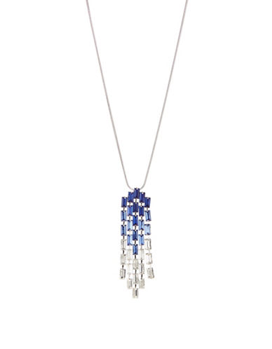 Expression Crystal Rectangular Drop Necklace-BLUE-One Size