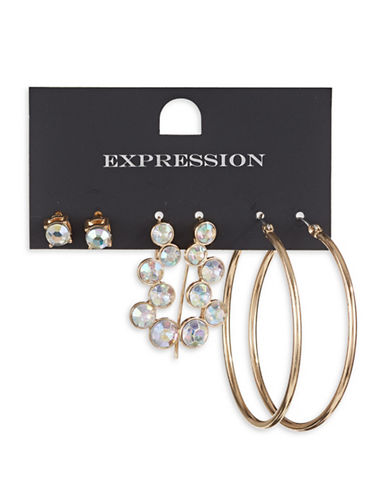Expression Three-Piece Crystal Hoop Bar Earrings Set-GOLD-One Size