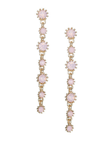 Expression Crystal Prong Drop Earrings-PINK-One Size