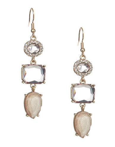 Expression Crystal Drop Earrings-BEIGE-One Size