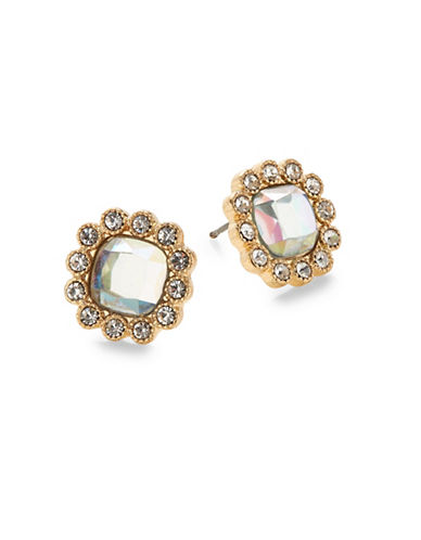 Expression Crystal Floral Stud Earrings-GOLD-One Size