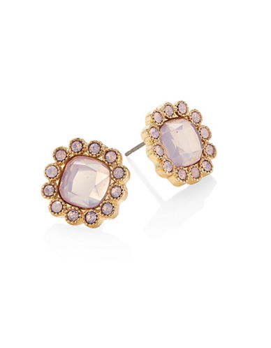 Expression Crystal Floral Stud Earrings-PINK-One Size