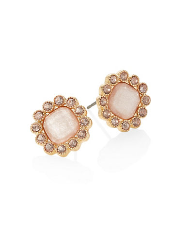 Expression Crystal Floral Stud Earrings-BEIGE-One Size