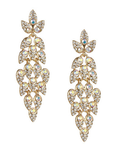 Expression Sparkling Flex Leaf Drop Earrings-GOLD-One Size