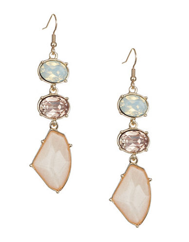 Expression Multi-Stone Drop Earrings-PINK-One Size