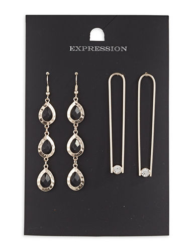 Expression Two-Piece Crystal Teardrop and U-Shaped Drop Earrings Set-BLACK-One Size