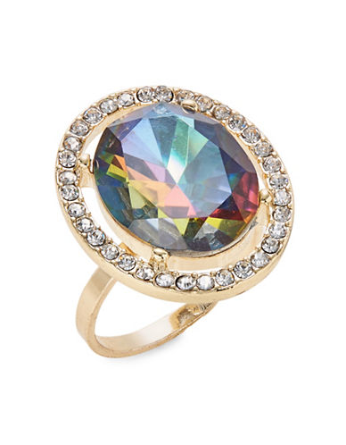 Expression Crystal Oval Stone Solitaire Ring-MULTI-9