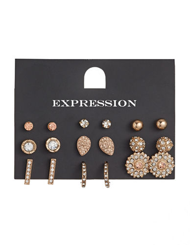 Expression Nine-Pair Mixed Sparkling Earrings Set-ORANGE-One Size