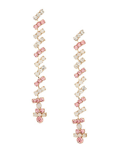 Expression Candy Bead Linear Drop Earrings-PINK-One Size