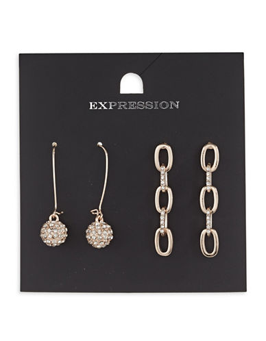 Expression Two-Piece Crystal Link Oval Drop Earrings Set-ROSE GOLD-One Size