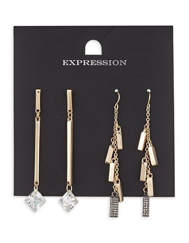 Expression Two-Piece Crystal Pave Dangly Square Drop Earrings Set-GOLD-One Size