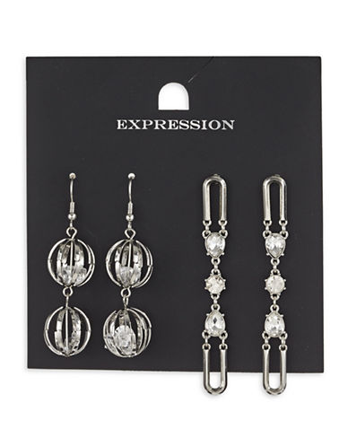 Expression Two-Piece Crystal and Diamond Cage Dangly Drop Earrings Set-SILVER-One Size