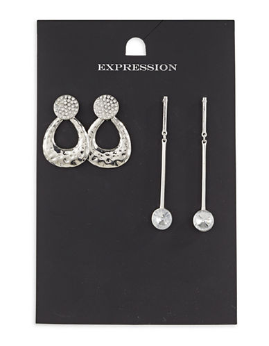 Expression Two-Piece Crystal Dangly Drop Earrings Set-SILVER-One Size