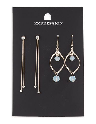 Expression Two-Piece Crystal Dangly Bead on Spiral Drop Earrings Set-ROSE GOLD-One Size