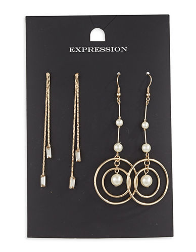 Expression Two-Piece Crystal and Pearl Disc Drop Earrings Set-WHITE-One Size