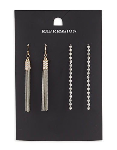 Expression Two-Piece Crystal Tassels Earrings Set-ASSORTED-One Size