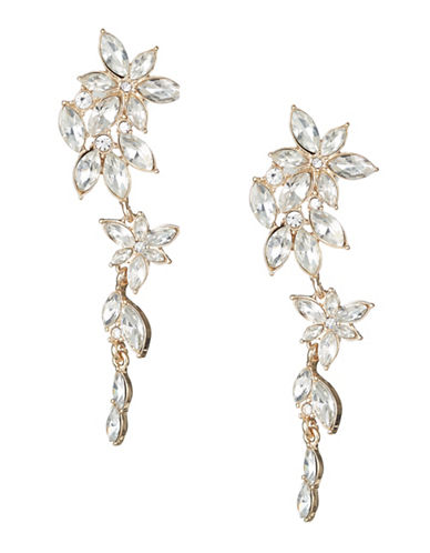 Expression Crystal Pave Drop Earrings-GOLD-One Size