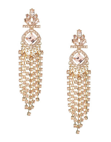 Expression Crystal Chain Chandelier Earrings-ORANGE-One Size