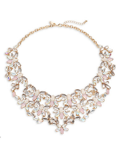 Expression Multicolour Floral Rhinestone Necklace-PINK-One Size