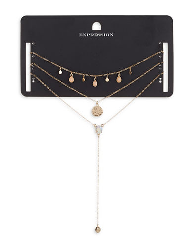 Expression Three-Piece Hammered Disc Dangly Necklace Set-ROSE GOLD-One Size