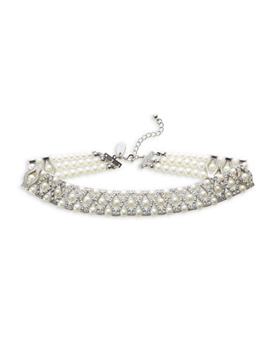 Expression Crystal and Faux Pearl Choker-WHITE-One Size
