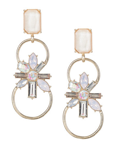 Expression Crystal Drop Earrings-PINK-One Size
