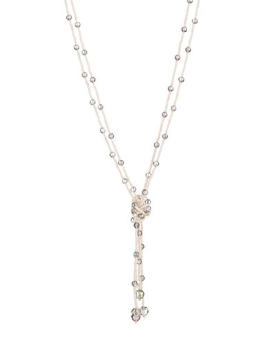 Expression Two-Row Knot Multi-Strand Necklace-WHITE-One Size