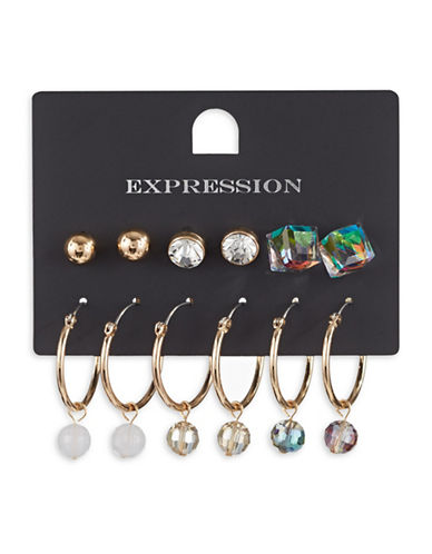 Expression Six-Piece Hoop and Stud Earrings Set-ASSORTED-One Size