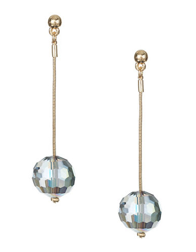 Expression Crystal Dangly Faceted Drop Earrings-GOLD-One Size