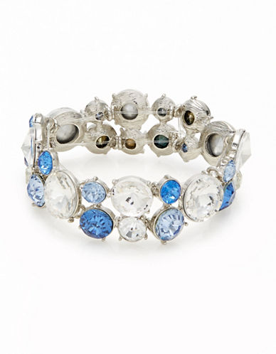 Expression Faceted Round Stone Stretch Bracelet-BLUE-One Size
