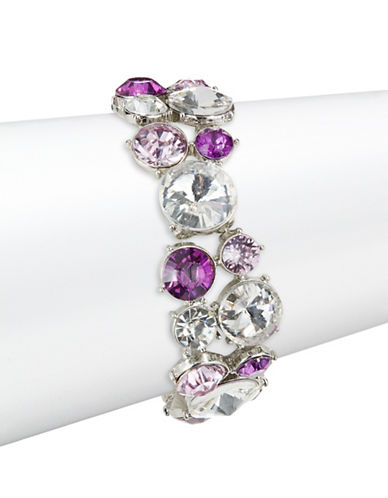 Expression Faceted Round Stone Stretch Bracelet-PURPLE-One Size