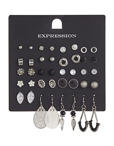 Expression 20-Pair Assorted Silvertone Earrings Set-ASSORTED-One Size