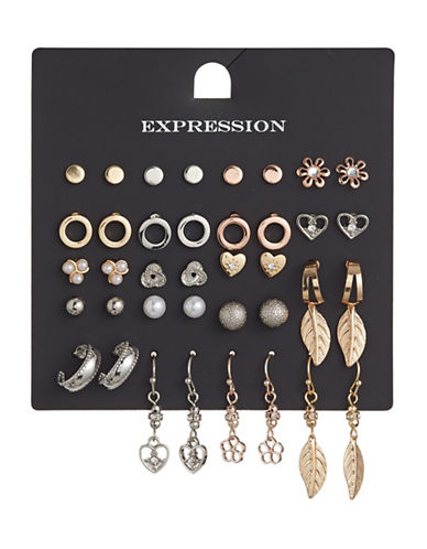 Expression 20-Pair Botanical Mix Earrings Set-BEIGE-One Size
