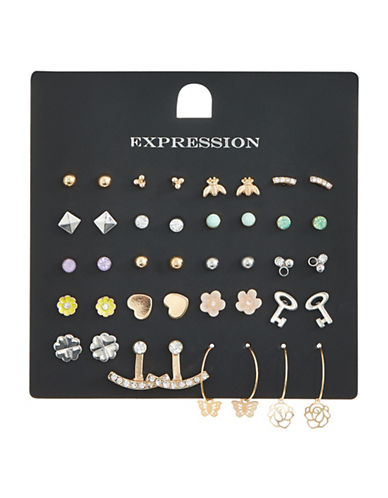 Expression Pack of Twenty Crystal Assorted Earring Set-ASSORTED-One Size