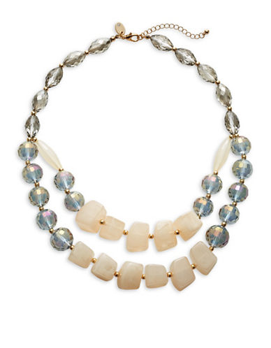 Expression Crystal and Faux Pearl Statement Necklace-BEIGE-One Size
