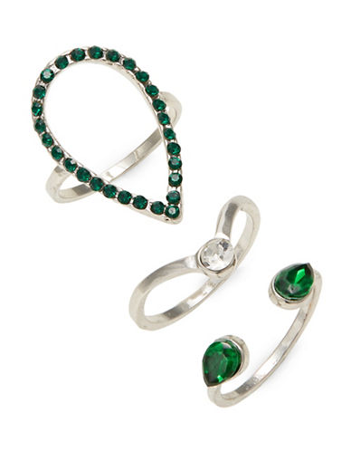 Expression Set of Three Crystal Assorted Rings-GREEN-9
