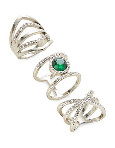 Expression Three-Piece Crystal Faceted Wrap Ring Set-GREEN-9