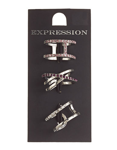 Expression Set of Three Geometric Rings-PURPLE-7
