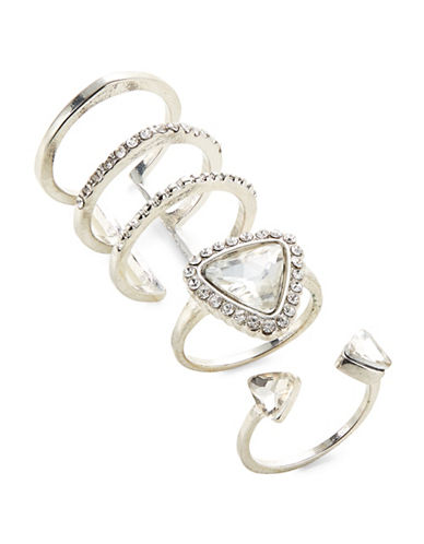Expression Three-Piece Crystal Open Wire Ring Set-SILVER-8
