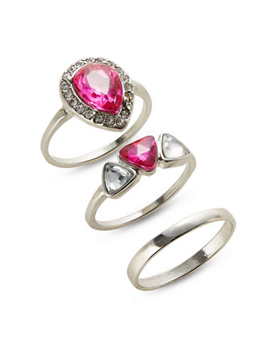 Expression Set of Three Teardrop Accent Rings-BRIGHT PINK-9