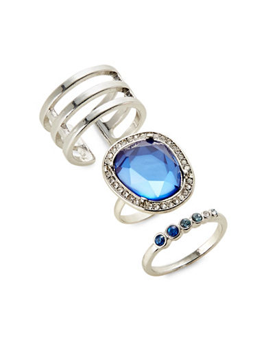 Expression Set of Three Faceted Stone Detail Rings-BLUE-7