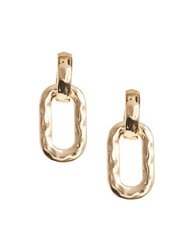 Expression Interlock Oval Drop Earrings-GOLD-One Size