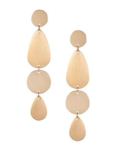 Expression Textured Disc Oval Drop Earrings-GOLD-One Size