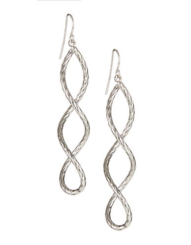 Expression Textured Helix Drop Earrings-SILVER-One Size