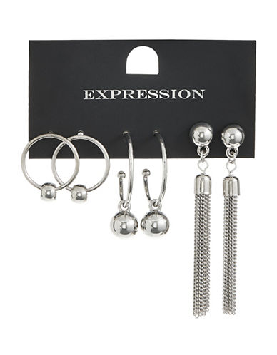 Expression Pack of Three Drop Ball and Tassel Earrings-SILVER-One Size