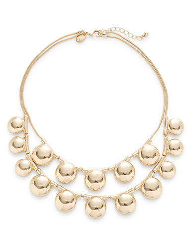 Expression Two-Row Half Ball Statement Necklace-GOLD-One Size