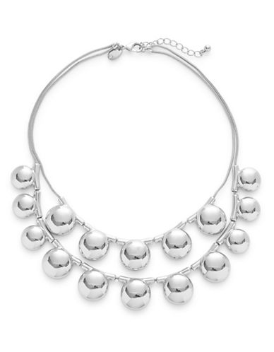 Expression Two-Row Half Ball Statement Necklace-SILVER-One Size