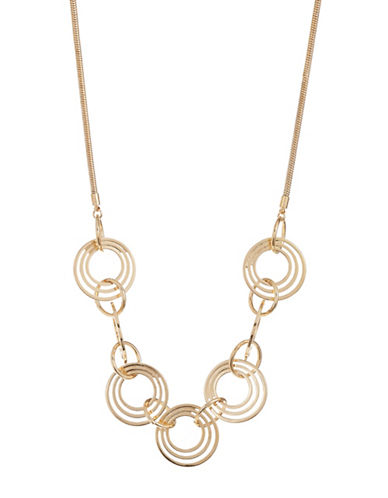 Expression Multi-Linked Ring Statement Necklace-GOLD-One Size