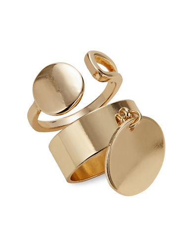 Expression Set of Two Dangly Disc Stackable Rings-GOLD-8